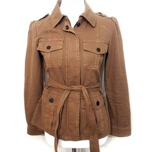Sanctuary Cotton Camel Belted Military Jacket